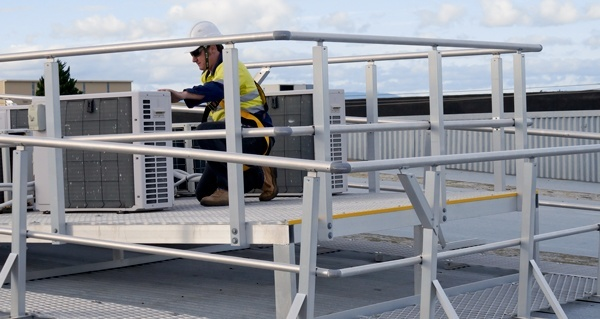 Defender platform used for working at heights to service equipment at height
