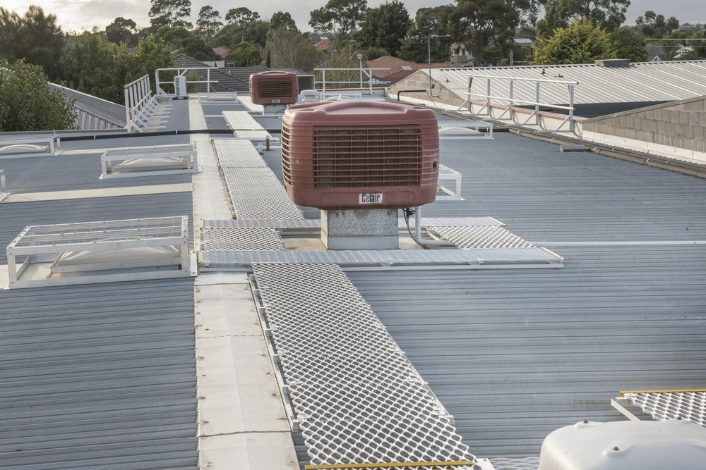Roof walkway to access air conditioning equipment