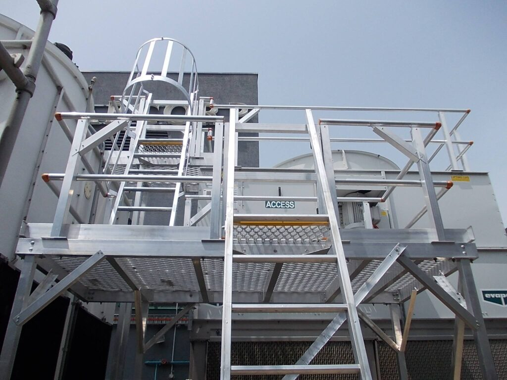 Access to roof using ladder and platforms