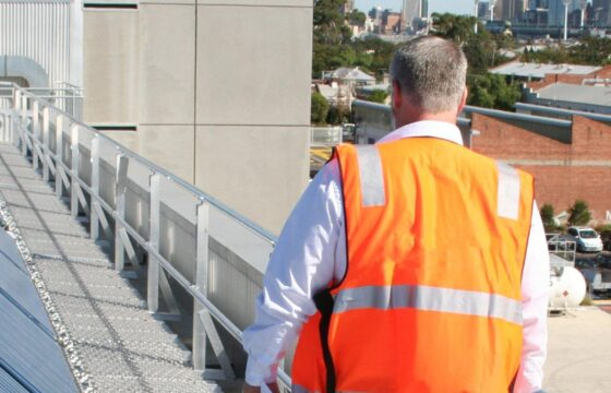 solar, walkway, guardrail, height safety, walking on roof, facility manager